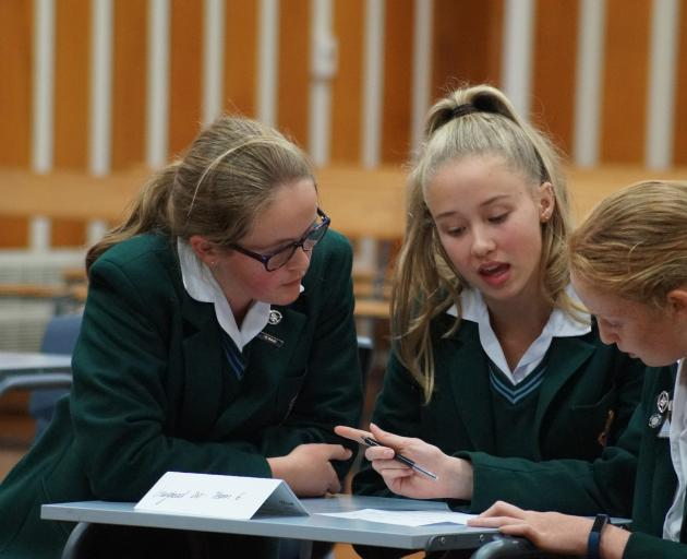 Craighead Diocesan School pupils (from left) Louisa Stuart (14), Annie Tregendza (13) and Kate...