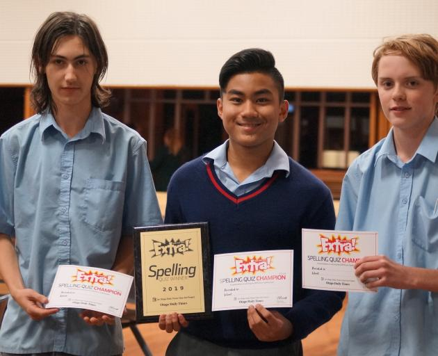 Ashburton College pupils (from left) Conner Stewart (15), Marc Calzada (14) and Hamish Lyth (14)...