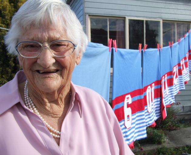 Stella Chamberlain, who died in 2014, was a stalwart of the Waimate Rugby Club and washed the senior team's jerseys for 39 years.. Photo: Sally Rae