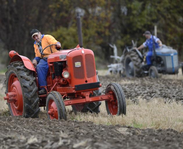 John Wild competes in the vintage section of the Taieri Ploughing Match in Mosgiel yesterday....