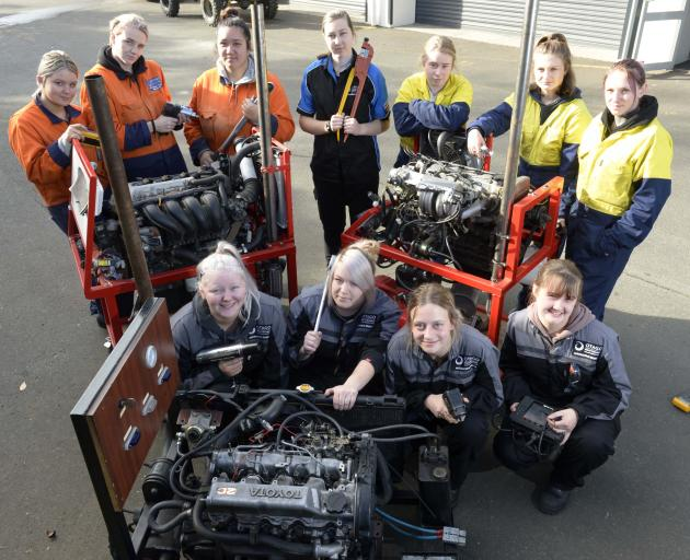Otago Polytechnic automotive and mechanical engineering students (back row, from left): Arizona Greig (17), Mikayley Bennett (19), Stoney Huntley (17), Jenna Boyes (19), Brittany Geange (20), Hayley Yates (17), Catherine Anderson (30), and (front row, fro