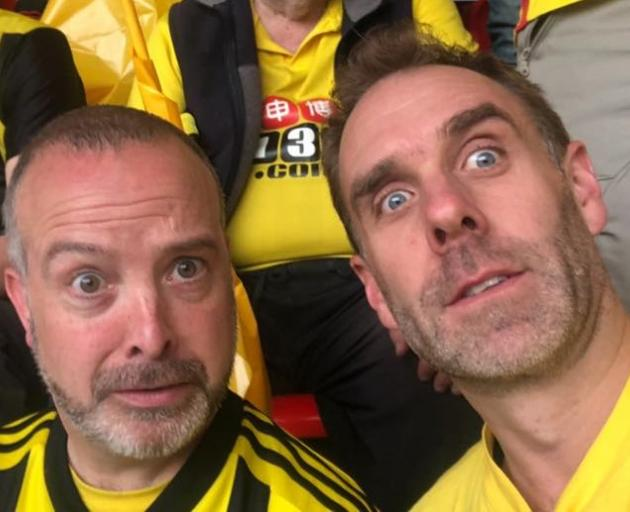 Rob Burnell (right) with Laurence Campbell at the FA Cup final at Wembley stadium in London yesterday. PHOTO: FACEBOOK