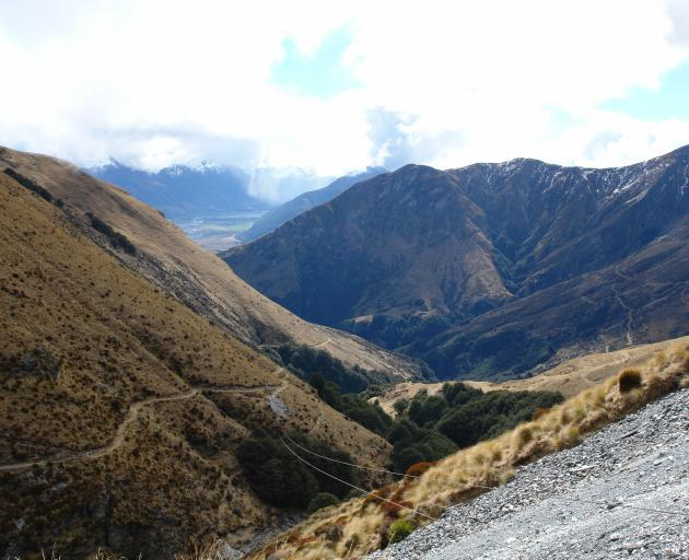 The Whakaari Conservation area, near Glenorchy. In the foreground is a cableway formerly used to...