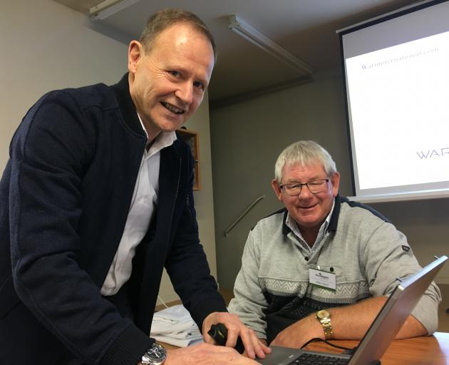 Speaker Lance Burdett (left), with Rural Support Trust Mid Canterbury's Allan Baird, says people need to learn how to stop their brains from overthinking. Photo: Supplied
