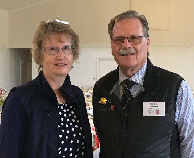 Golden Fleece convener Christine Roberts chats to Royal Agricultural Society president Geoff Smith, who made the trip down from Waiuku, South Auckland, to attend the annual event which was held in Rangiora for the first time on Saturday, May 11. Photos: D
