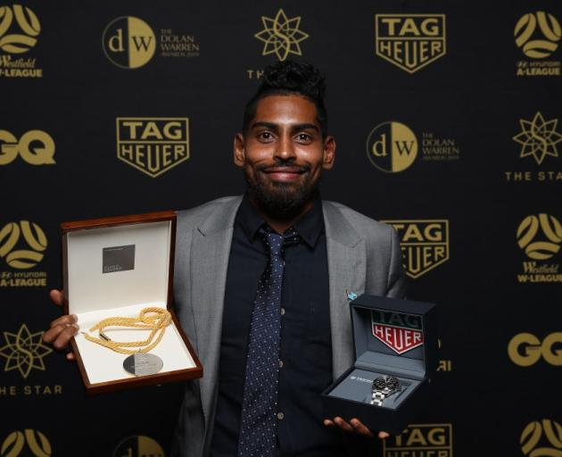 Roy Krishna with the spoils from last night's A League awards. Photo: Getty Images