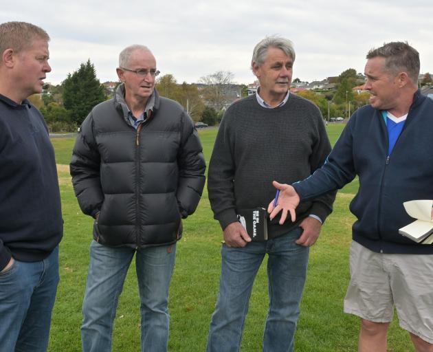 New Zealand Rugby referees manager Bryce Lawrence (right) talks to (from left): Otago Rugby...