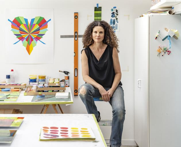Sara Hughes at work in her Auckland studio. Photos: Supplied