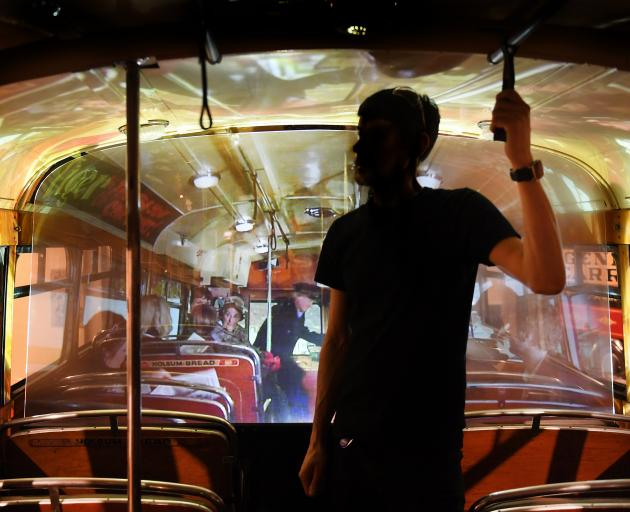 The audiovisual display inside the Tiger Tea bus.