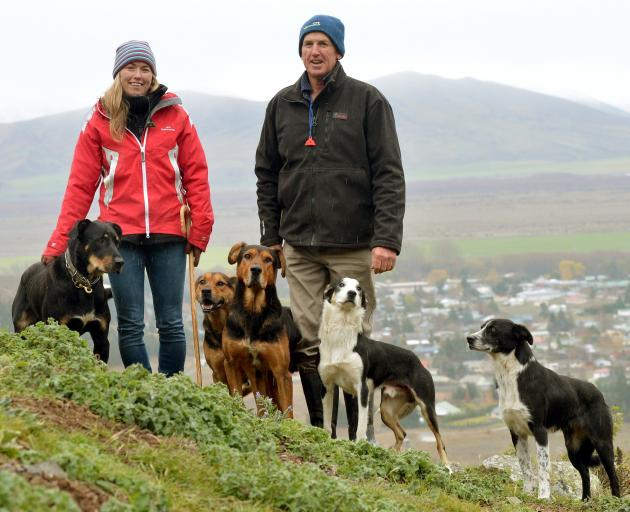 Roger Tweed and Steph Tweed with Grit, Gemma, Cooper, Price and Rose in 2016. PHOTO: STEPHEN...