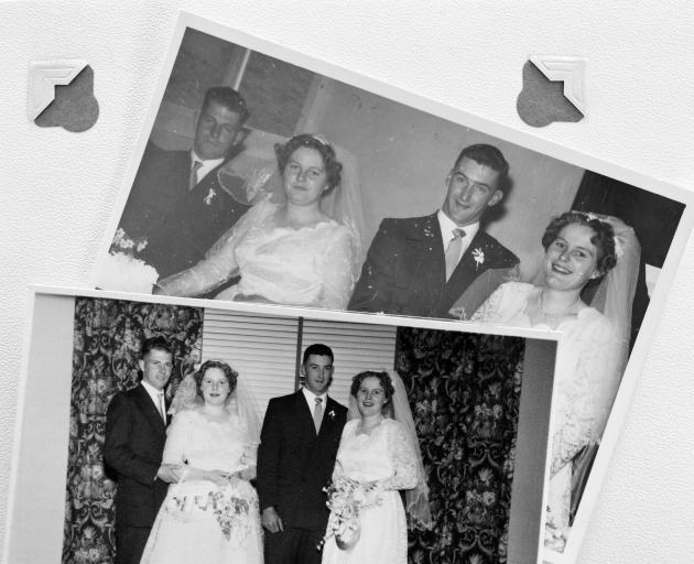 Robin and Deanna Benington (left) and Gilbert and Diana Tweed on their wedding day in Kurow, May 23, 1959. Photo: Tweed & Bennington Families