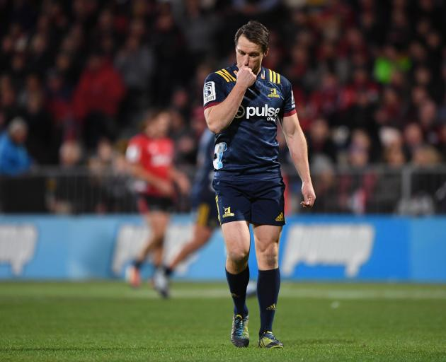 The Highlanders' Ben Smith reacts during the Super Rugby Quarter Final match between the...