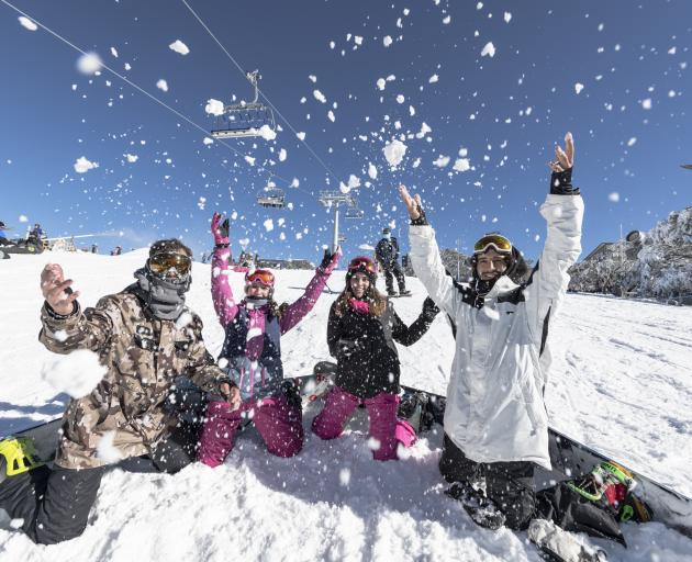Skiers enjoying good early snowfalls at the Mount Buller Alpine Resort, Victoria, Australia....