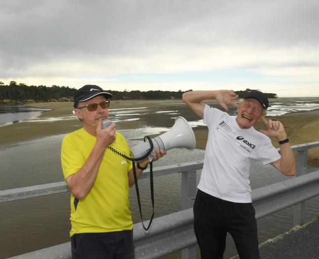 Papatowai Challenge founder Wayne Allen (left) and fellow event organiser Peter Hill prepare for...