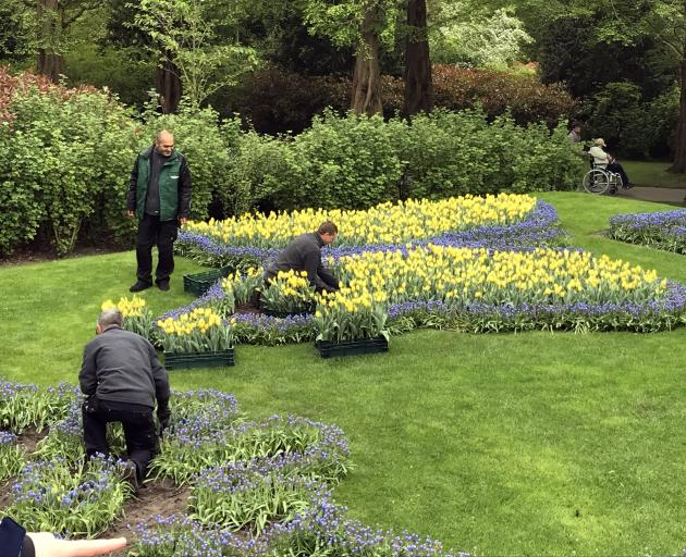 Regular replanting keeps the gardens looking good throughout the spring.