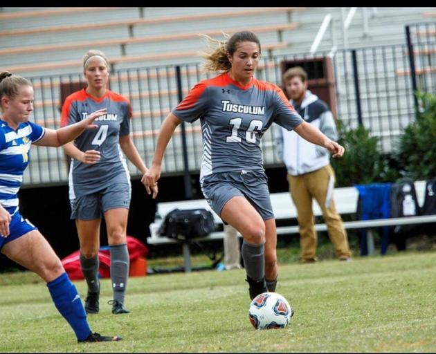Kate Guildford in action last season for Tusculum University in the South Atlantic Conference competition. Photos: Supplied