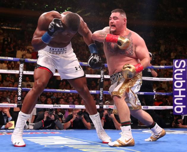 Andy Ruiz pummels Anthony Joshua in the weekend's heavyweight title fight. Photo: Getty Images