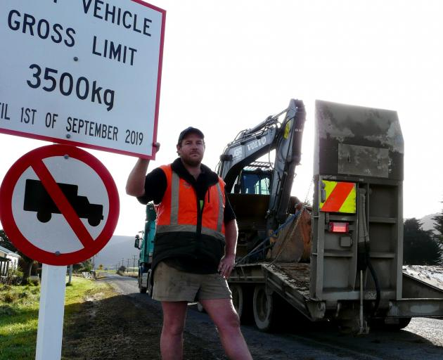 JGR Contracting managing director Jarrod Ramsay says new council restrictions placed on Tahakopa Valley Rd in the Catlins this winter are damaging his business. Photo: Richard Davison