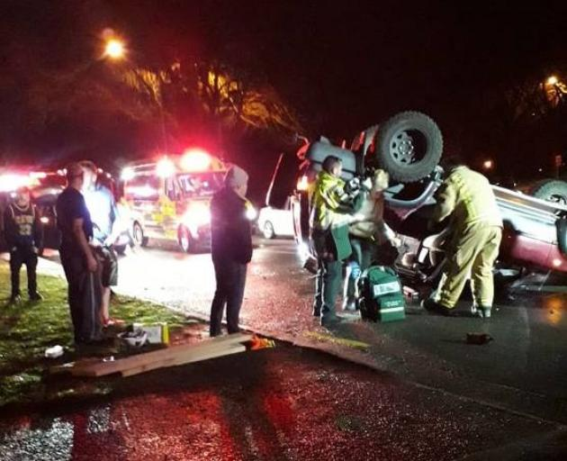 Emergency services attending the serious crash in Burwood, Christchurch, on Saturday night. Photo: Supplied via NZME.