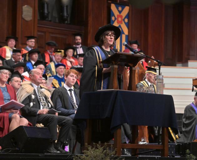 Vice-chancellor Professor Harlene Hayne addresses the crowd at the University of Otago's 150th...