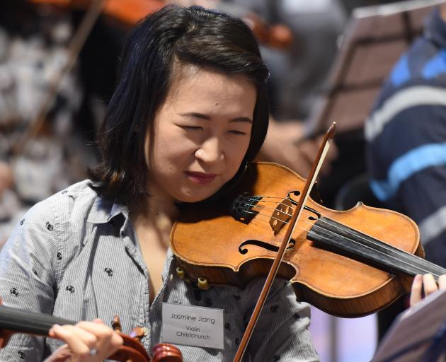 Violinist and Christchurch doctor Jasmine Jiang rehearses for the New Zealand Doctors' Orchestra...