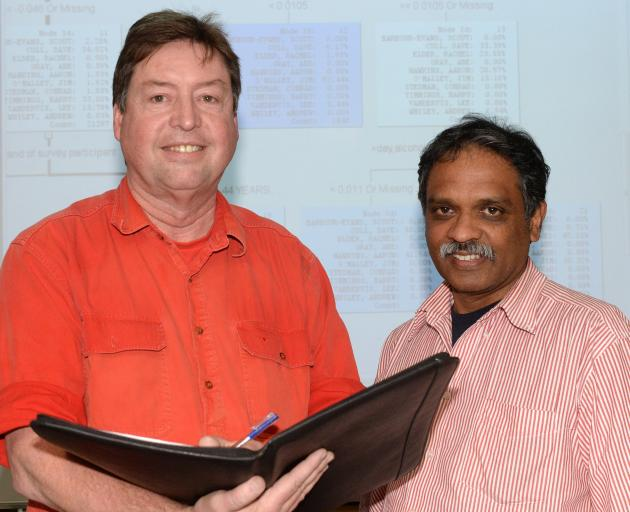 Dr Damien Mather (left) and Dr Mathew Parackal, of the University of Otago's marketing department...