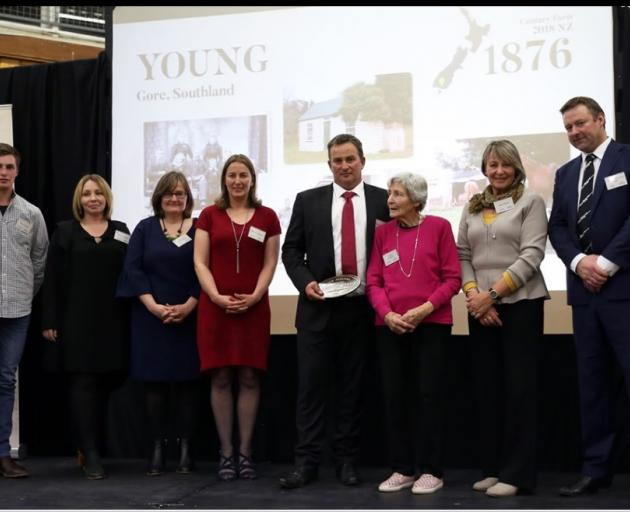 Descendants of Robert Young, of Creekside farm, attending a New Zealand Century Farm awards dinner in Lawrence recently are (from left) Sam Young, Stacey Young, Nicola McGrouther, Melissa Clease, Robert Young, Gladys Davidson, Joan Bisset and NZ First lis