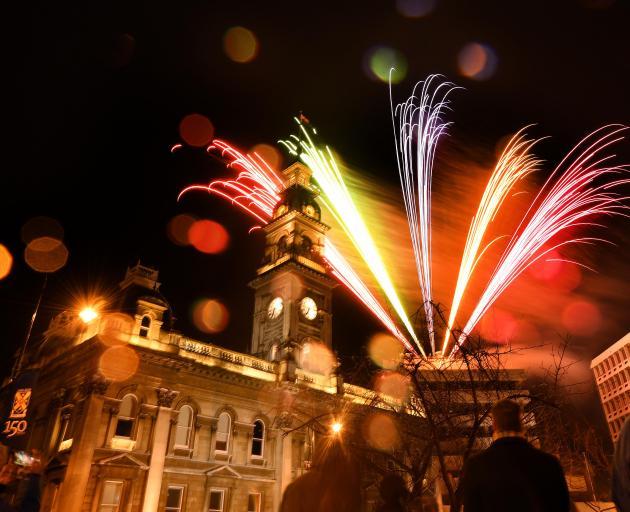 Fireworks celebrating Otago University's 150th anniversary light up the Octagon in Dunedin. Photo...
