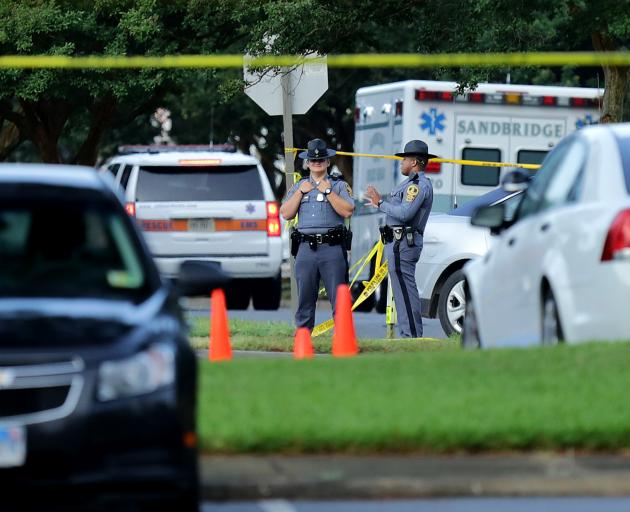 Emergency services at the scene of the deadly mass shooting in Virgina Beach. Photo: Getty Images