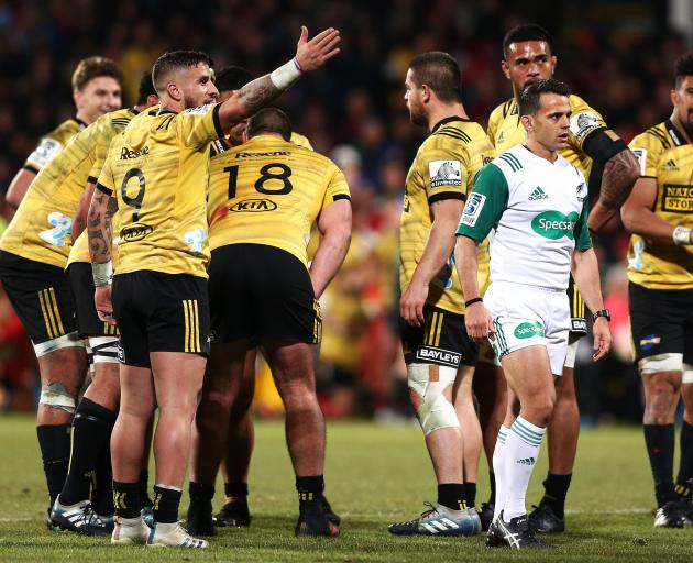 TJ Perenara appeals to the referee after an incorrect late call handed the Crusaders possession....