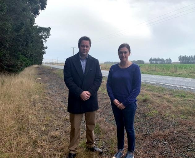 Clutha Southland MP Hamish Walker and Lumsden midwife Sarah Stokes stand at the spot where a baby was delivered early this morning. Photo: Supplied
