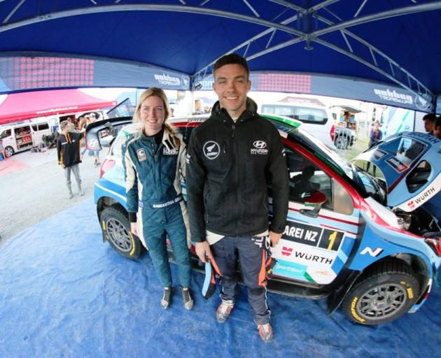 Hyundai rally driver Hayden Paddon will compete in Saturday's one-day South Canterbury Rally with Samantha Gray, a Timaru local, back in the co-driver's seat of the Hyundai i20 AP4. Photo: Mark Walton