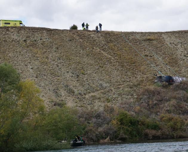 Emergency services at the scene of a jet boat crash on a stretch of the Clutha River. PHOTO: SEAN...