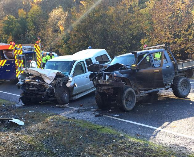 Two vehicles were written off and all three people involved in a crash on State Highway 8 last year were hospitalised. Photo: ODT files