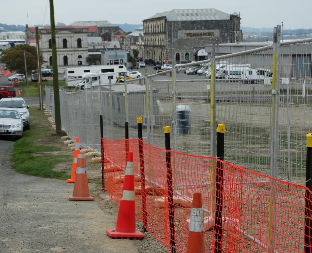 The former site of nine sycamore trees in Oamaru's Tyne St that were felled last month. A...