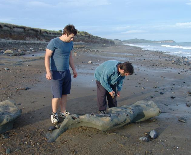Bruce McCulloch (right) and his son Murray found the skeleton on a beach near Oamaru in 2007....