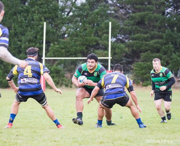 Marist No 8 Pasillo Tosi goes forward in his side's match against Blues in Invercargill on...