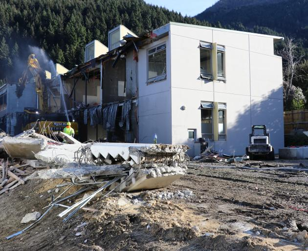 Queenstown's Wakatipu High School becomes just a pile of bricks on the floor. PHOTO: PAUL TAYLOR
