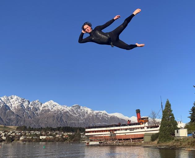 AJ Hackett Bungy crew member Darius Lindsay (19) gets some air during a trial run of the company's new Birdman swing, which will make its public debut this Saturday, during the 2019 Queenstown Winter Festival Day on the Bay. Photo: AJ Hackett