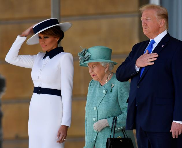 President Donald Trump and First Lady Melania Trump meet with Britain's Queen Elizabeth at Buckingham Palace, in London, Britain. Photo: Reuters