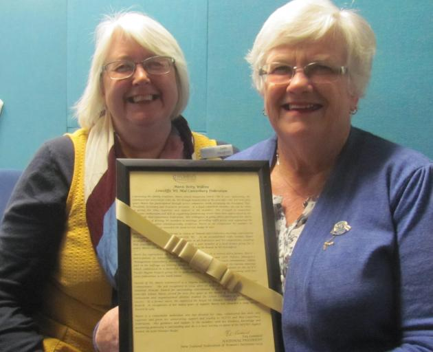 Mid Canterbury Federation of Women's Institute's past-president Jude Vaughan and president Mavis Wilkins, who was awarded the WI's Gold Honours Badge. Photo: Toni Williams