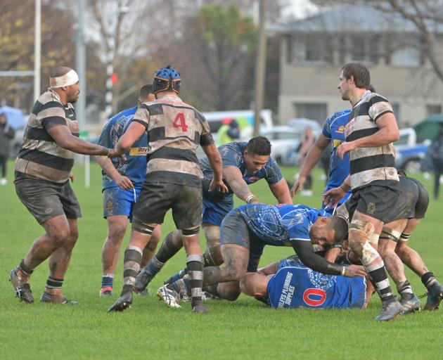 Southern forwards (from left): Mike Mata'afa, Axel Hohneck and Caleb Grace look to get involved...