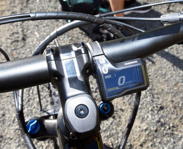 the well-protected Shimano display shows the colour-coded e-mode selected and the level of...