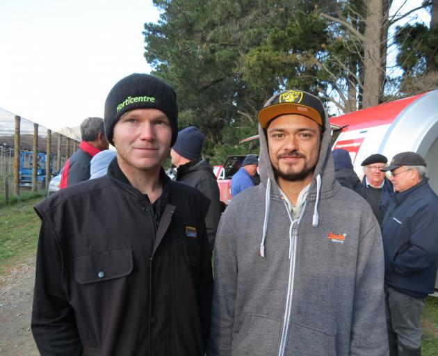 Alexandra's Springvale Orchards workers Cam Smith, of Alexandra, and Stefan Bain, of Dunedin,...