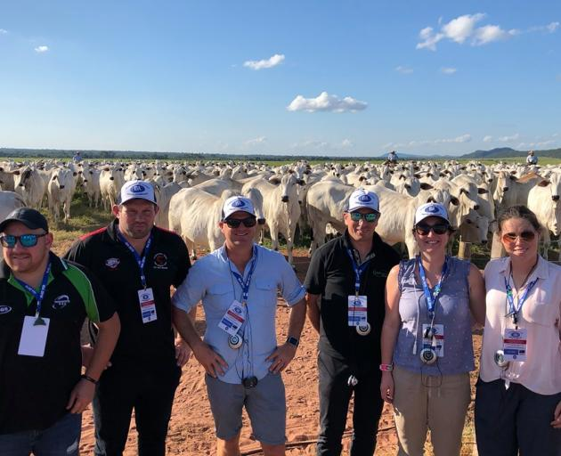 Young Leader, 2019 Jess Cairns (far right) has recently returned from an International Beef Alliance trip to Brazil, where she was joined by (from left) Charles Taituha (Young Leader 2019), Carl Carmichael (Young Leader 2019), George Tatham (Director, B+L
