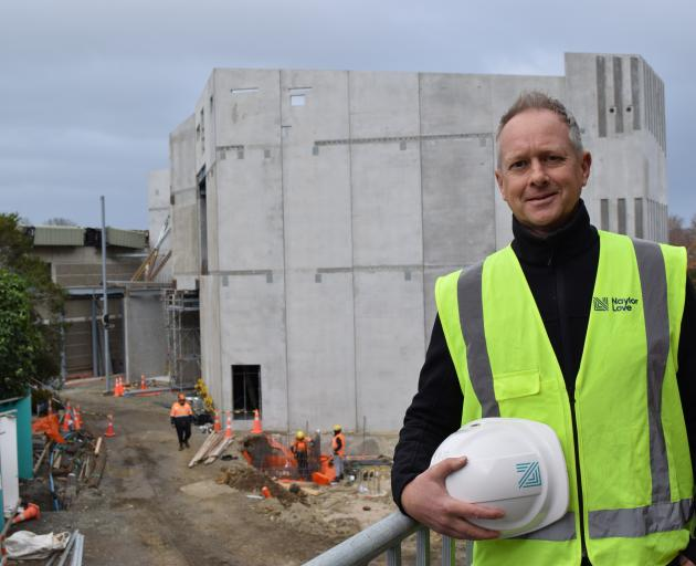 Naylor Love regional manager Jason Tutty inspects the build of a new studio facility for the University of Otago's School of Music in North Dunedin on Monday. Photo: Shawn McAvinue