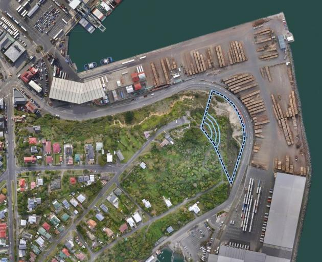 The end of Flagstaff Hill, which slumped during a major weather event in 1999, will be stepped and Beach St realigned by Port Otago in a six-month project set to start on Monday. Image: Supplied