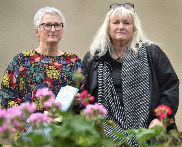 Corinda Taylor of the Life Matters suicide prevention trust with suicide bereaved Hamilton mother Jane Stevens, who is supporting Mrs Taylor's petition calling for government funding of bereaved family's legal fees. Photo: Peter McIntosh