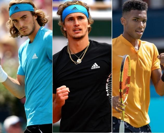 A new tennis rivalry including (from left) Stefanos Tsitsipas, Alexander Zverev and Felix Auger-Aliassime could bring men's tennis into a new phase. Photos: Getty Images