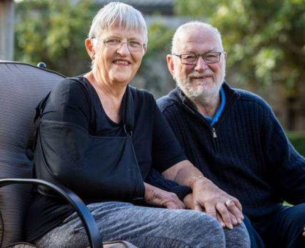Joy Milmine is recovering at her Hamilton home with her husband Colin after she suffered a broken shoulder while holidaying in Venice. Photo: NZME.